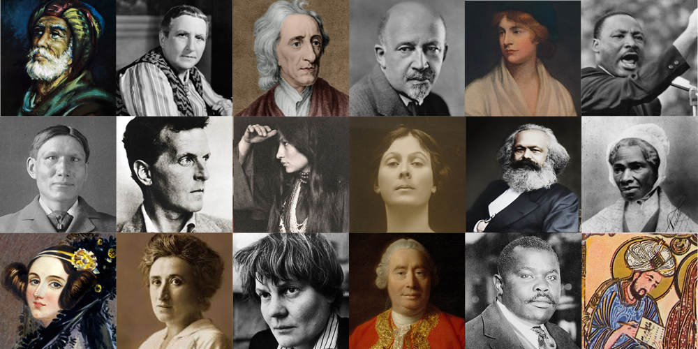 A set of images of philosophers.
